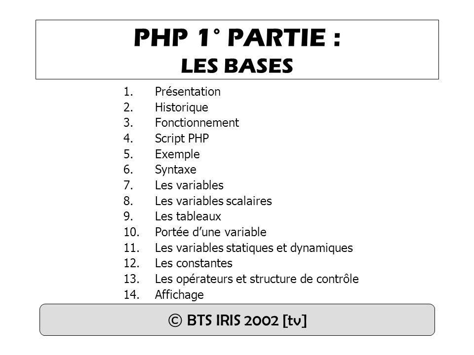 PHP 1° PARTIE : LES BASES © BTS IRIS 2002 [tv] Présentation Historique